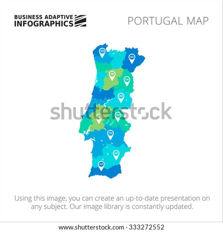 Editable template of detailed map of Portugal with map pointers, isolated on white