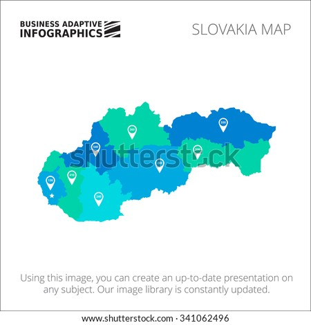 Editable template of detailed map of the Slovakia with map pointers, isolated on white - stock vector