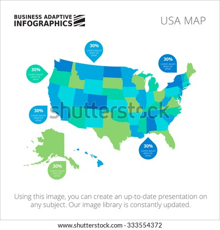 Editable template of detailed map of USA with percent marks, isolated on white - stock vector