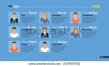 Editable template of presentation slide representing corporate team concept with woman and men portraits - stock vector