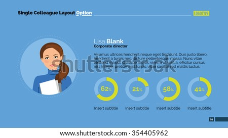 Editable template of presentation slide representing Single colleague layout with woman portrait and pie charts - stock vector