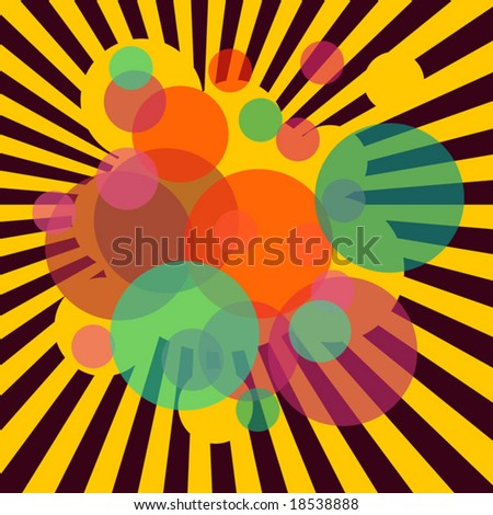 Editable vector abstract illustration of stripes and circles