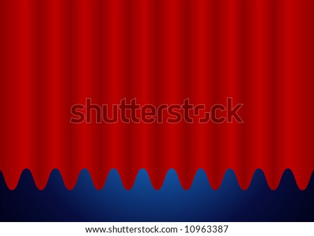 Editable vector background - Closed red curtain - stock vector