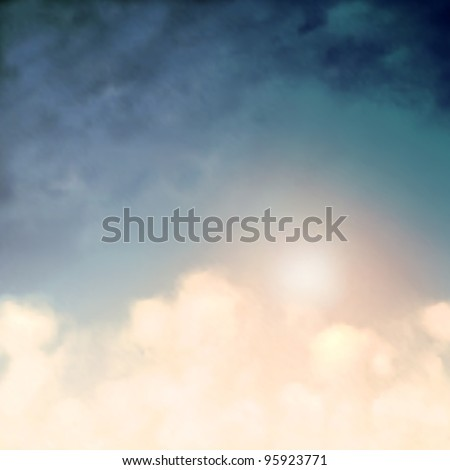 Editable vector background of the sun and clouds in a blue sky made using a gradient mesh - stock vector