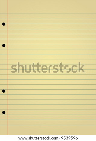 Editable vector background - yellow notebook paper with space for your text - stock vector