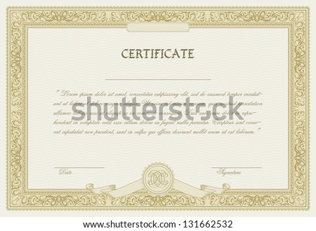 Editable vector certificate template with ornamental border - stock vector