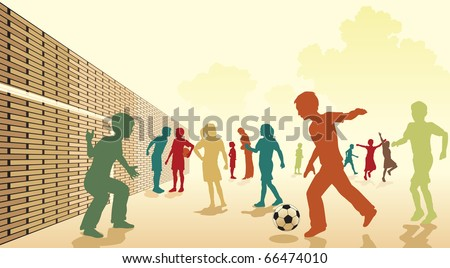 Editable vector colorful illustration of children playing football in a playground - stock vector