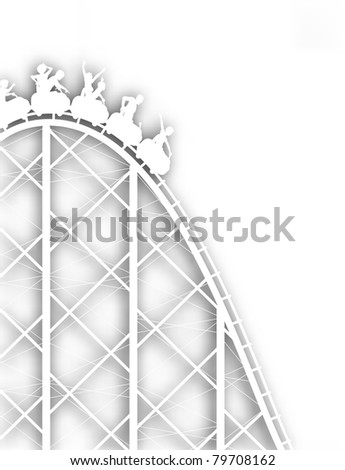 Editable vector cutout silhouette of a steep rollercoaster ride with background shadow made using a gradient mesh - stock vector