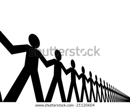 Editable vector design of a line of papermen - stock vector