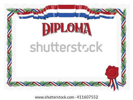 Editable vector diploma certificate international paper size, editable colors seal of approval holland netherlands ribbon flag