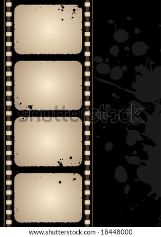 Editable vector grunge film frame background with space for your text - stock vector