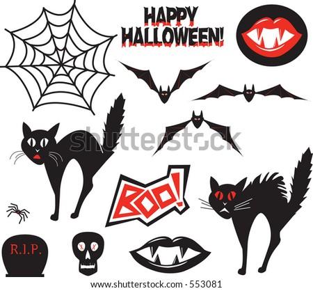 Editable vector Halloween design elements. - stock vector
