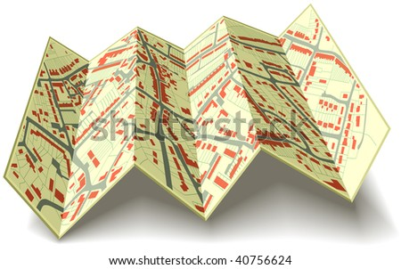 Editable vector illustrated folding map of housing in a generic town without names - stock vector