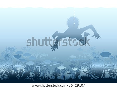 Editable vector illustration of a boy swimming over a coral reef