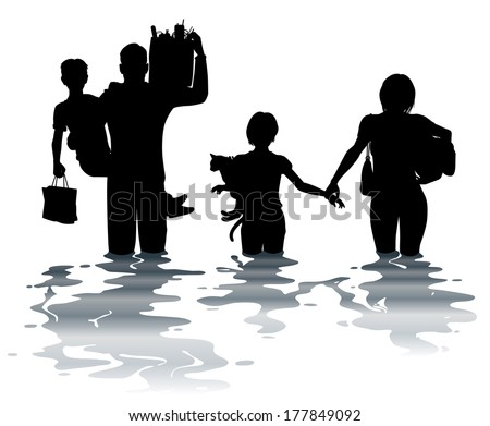 Editable vector illustration of a family carrying belongings through a flood - stock vector