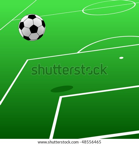 Editable vector illustration of a football and pitch