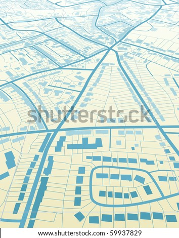 Editable vector illustration of a generic street map without names - stock vector
