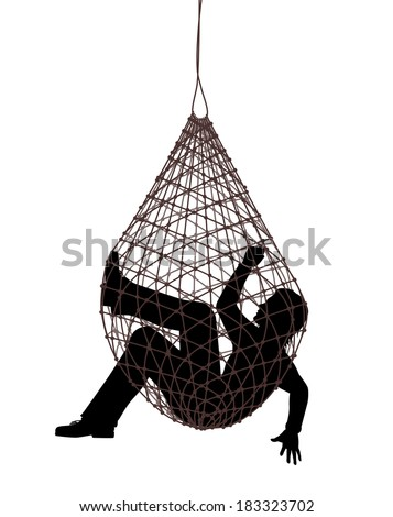 Editable vector illustration of a man caught in a net trap - stock vector