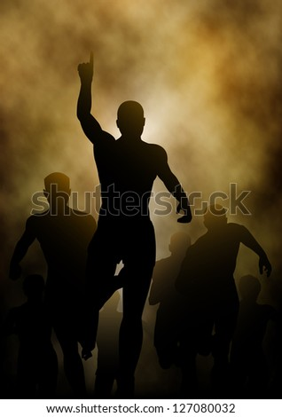 Editable vector illustration of a man celebrating winning a race with smoky or steamy background made with a gradient mesh - stock vector