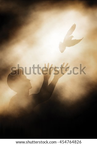 Editable vector illustration of a man releasing a dove into the light created using gradient meshes - stock vector