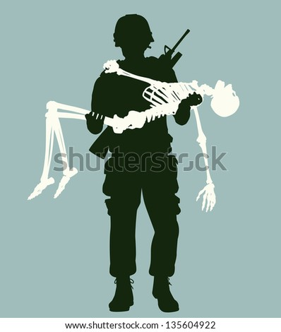 Editable vector illustration of a soldier carrying a skeleton in his arms - stock vector