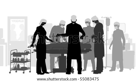 Editable vector illustration of a surgery in an operating theater - stock vector
