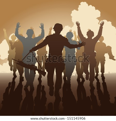 Editable vector illustration of a troop of defeated soldiers surrendering - stock vector