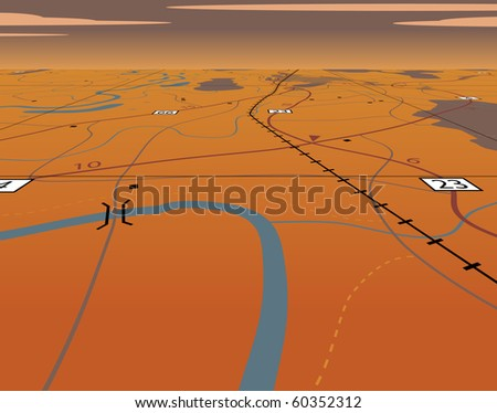 Editable vector illustration of an angled generic roadmap without names - stock vector