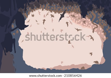 Editable vector illustration of animals in a bat cave with all figures as separate objects - stock vector