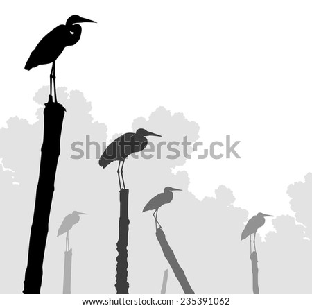 Editable vector illustration of egret silhouettes perched on poles with birds as separate objects - stock vector