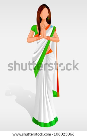 Editable vector illustration of Indian Lady in Indian Flag Sari - stock vector