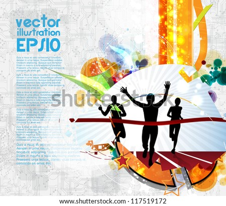 Editable vector illustration of men finishing a sprint race - stock vector