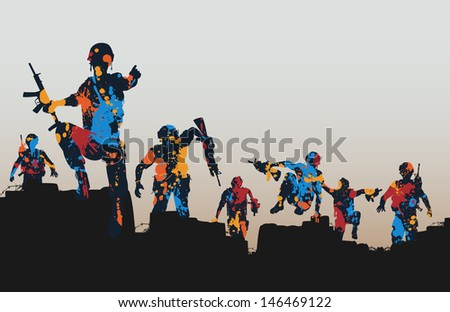 Editable vector illustration of paint splattered armed soldiers charging forward  - stock vector