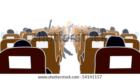 Editable vector illustration of passengers in an airplane - stock vector