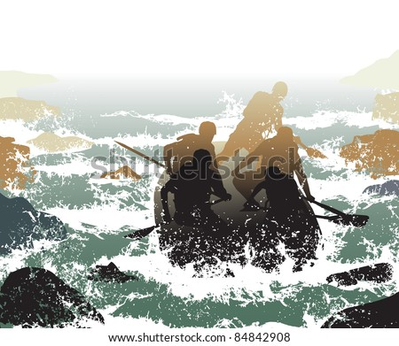 Editable vector illustration of people in a rubber dinghy going down whitewater rapids - stock vector