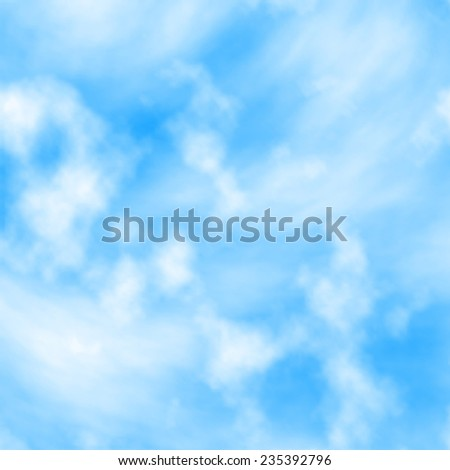 Editable vector illustration of two layers of white clouds on a blue sky created with a gradient mesh - stock vector
