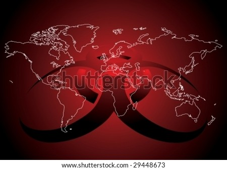 Editable vector illustration of World map with virus sign in red color