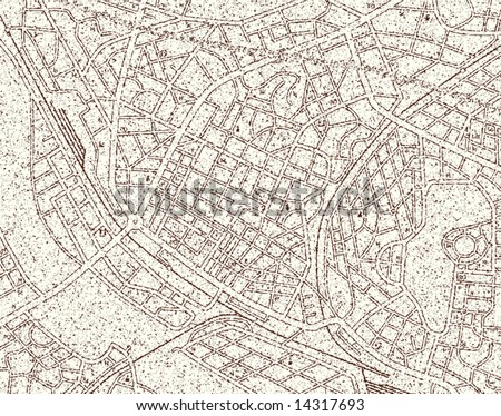 Editable vector map of a generic city with grunge and no names - stock vector