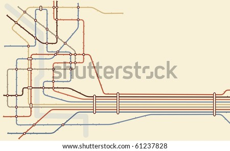 Editable vector map of a generic subway system with copy space - stock vector