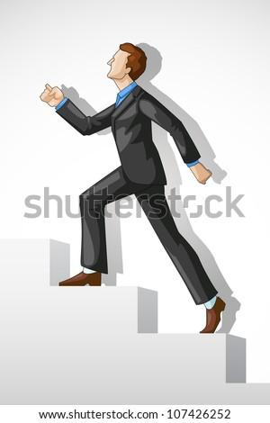 Editable vector of a executive climbing success stair - stock vector