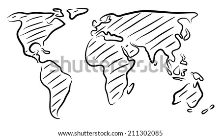 Editable vector rough outline sketch world stock vector 2018 editable vector rough outline sketch of a world map gumiabroncs Images