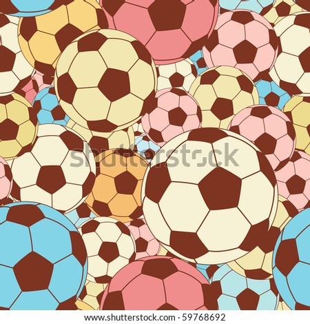 Editable vector seamless tile of colorful footballs - stock vector