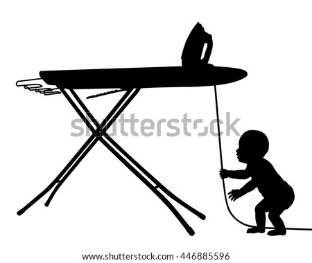 Editable vector silhouette of a baby in danger from pulling on the cord of an iron with baby as a separate object - stock vector