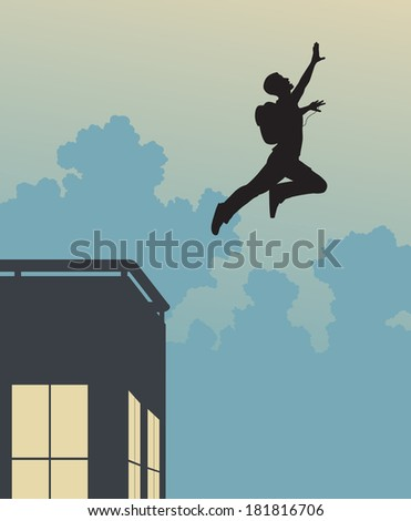 Editable vector silhouette of a base-jumper leaping off a building - stock vector