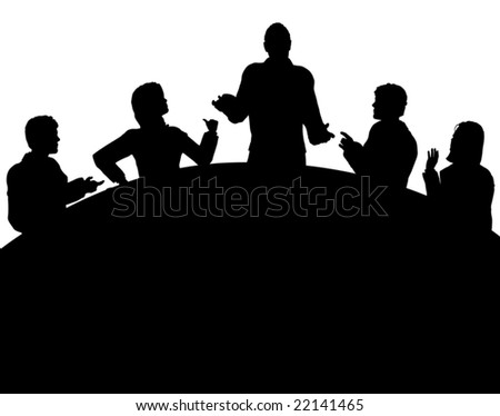 Editable vector silhouette of a business meeting with each figure as a separate object - stock vector