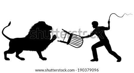 Editable vector silhouette of a lion-taming man with whip and chair - stock vector