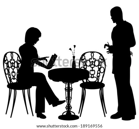 Editable vector silhouette of a woman ordering food and drink from a waiter at a cafe or restaurant with all objects as separate elements - stock vector