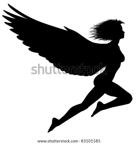 Editable vector silhouette of a woman with wings flying