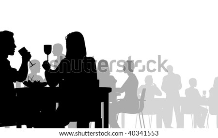 Editable vector silhouette of people eating in a restaurant - stock vector