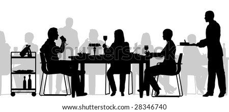 Editable vector silhouette of people eating in a restaurant with all figures as separate objects - stock vector